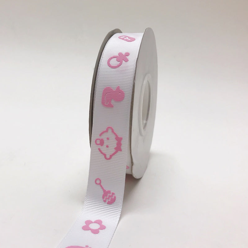 Pink - Baby Face Print - Grosgrain Ribbon Baby  Design ( W: 7/8 inch | L: 25 Yards )