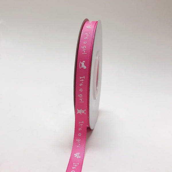 Fuchsia - It's a girl - Grosgrain Ribbon Baby  Design ( W: 3/8 inch | L: 25 Yards )