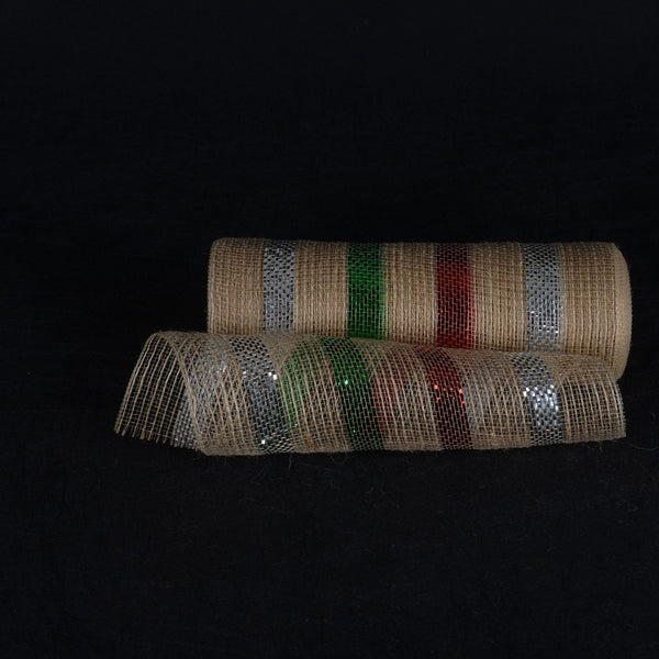 Red Green Silver Metallic Stripes Burlap Mesh ( 10 Inch x 10 Yards )