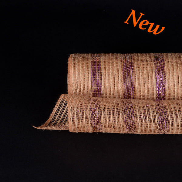 Purple Metallic Stripes Burlap Mesh ( 10 Inch x 10 Yards )