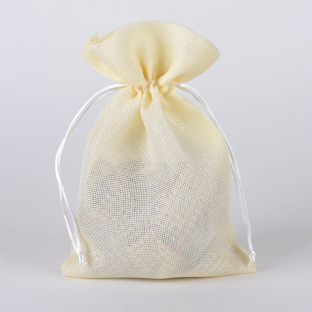 Ivory - Faux Burlap Bags ( 6x9 inch - 6 Bags)