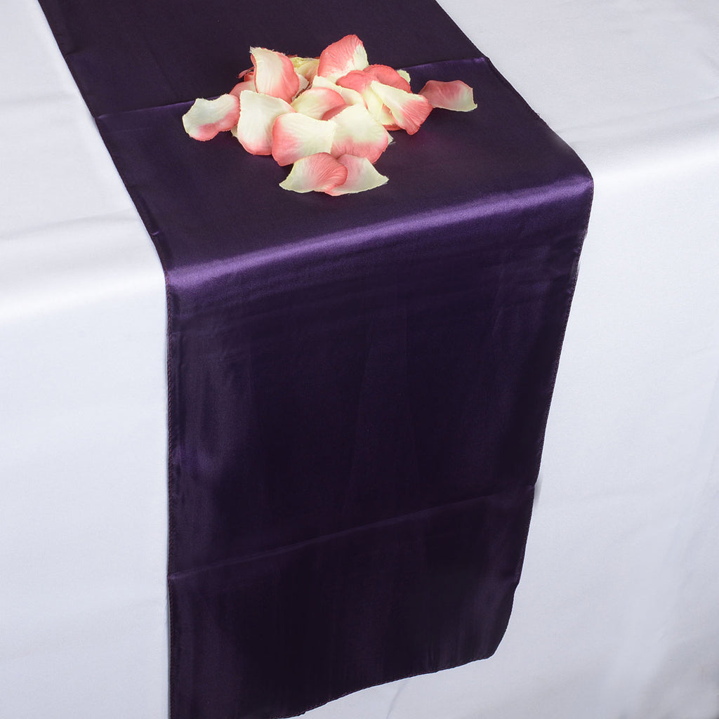 Plum - Satin Table Runner - ( 12 inch x 108 inches )