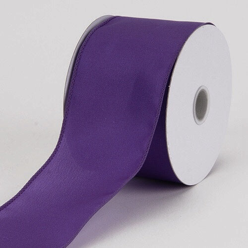 1-1/2 inch x 10 Yards Plum Satin Ribbon Thick Wired Edge