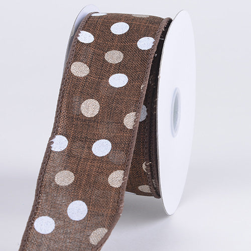 Spring Color Dots Ribbon Chocolate Brown ( 1-1/2 Inch x 10 Yards ) - Q41560938