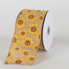 Natural Faux Burlap Sunflowers Ribbon