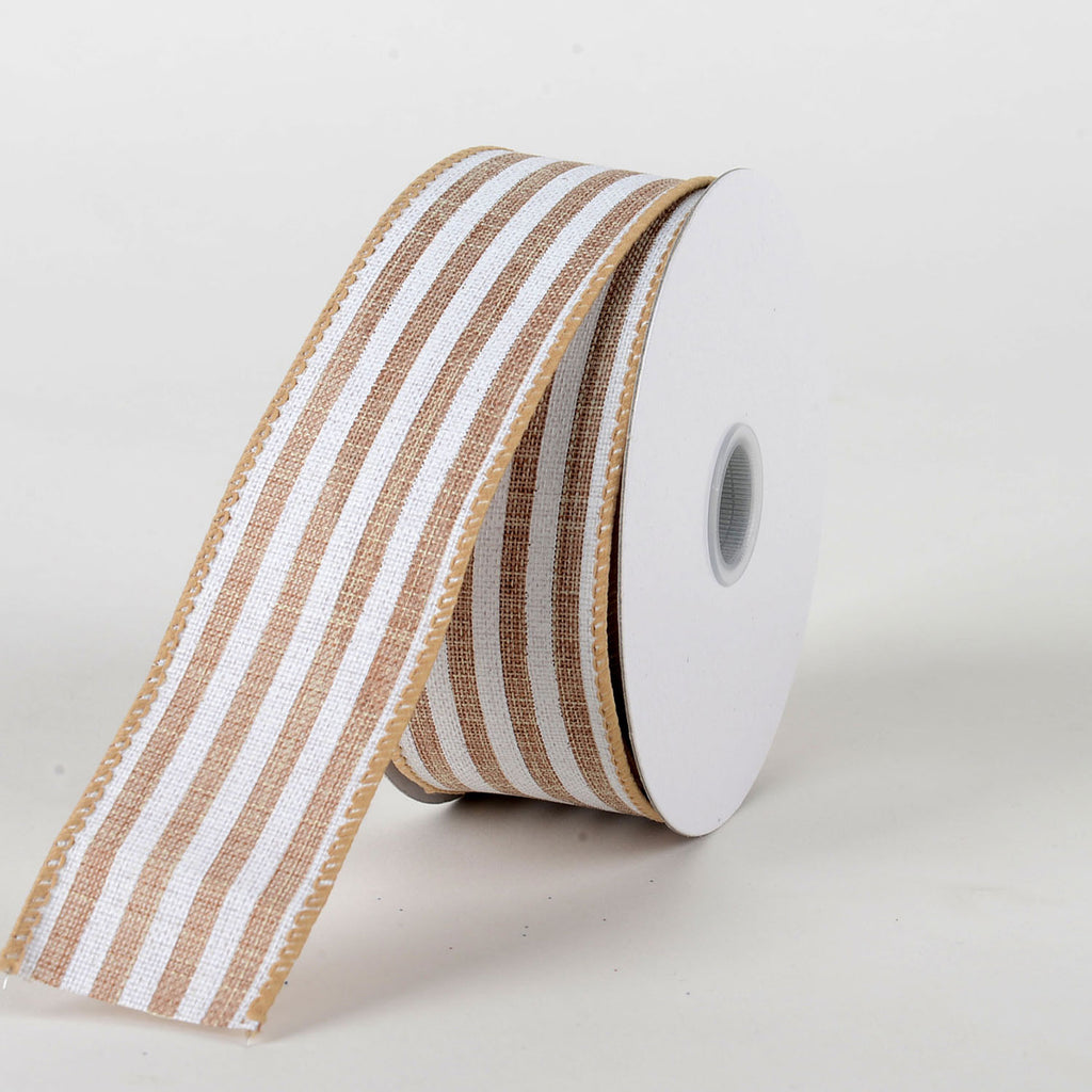 Astounding Natural White Natural Burlap Ribbon Cabana Stripes W 1 1 2 Inch L 10 Yards Ncnpc Chair Design For Home Ncnpcorg