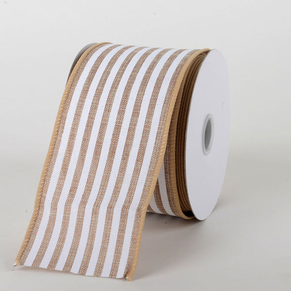 Natural White - Natural Burlap Ribbon Cabana Stripes ( W: 2-1/2 inch | L: 10 Yards )