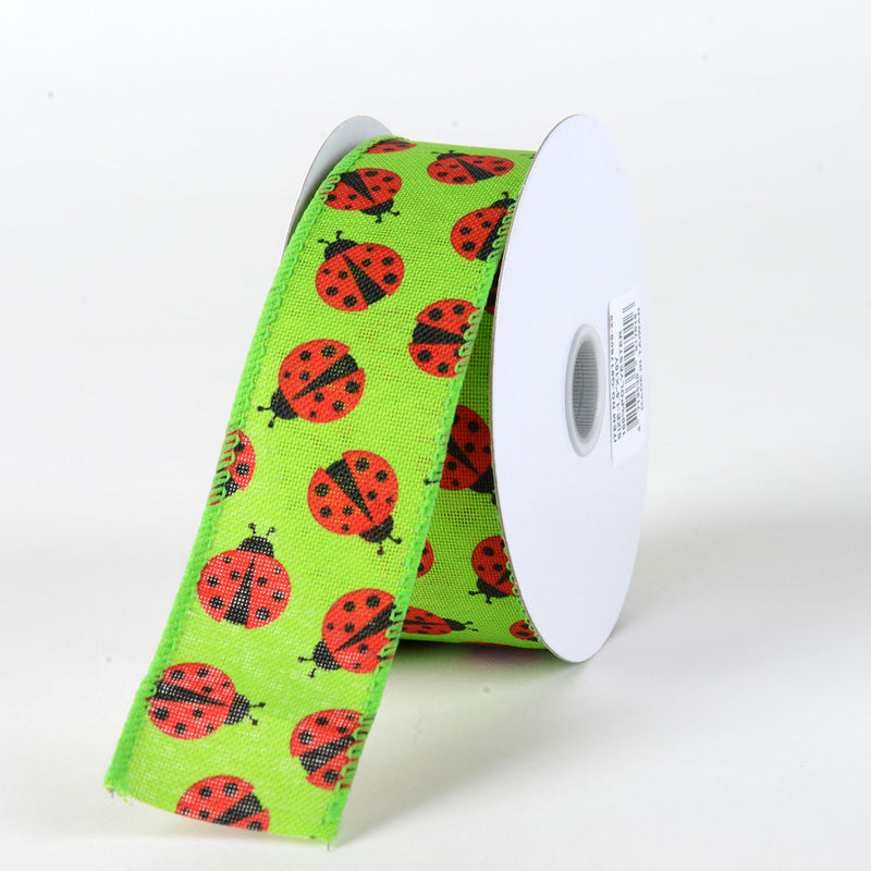 Green Linen Ladybugs Ribbon ( 1-1/2 Inch x 10 Yards ) - Q91760929