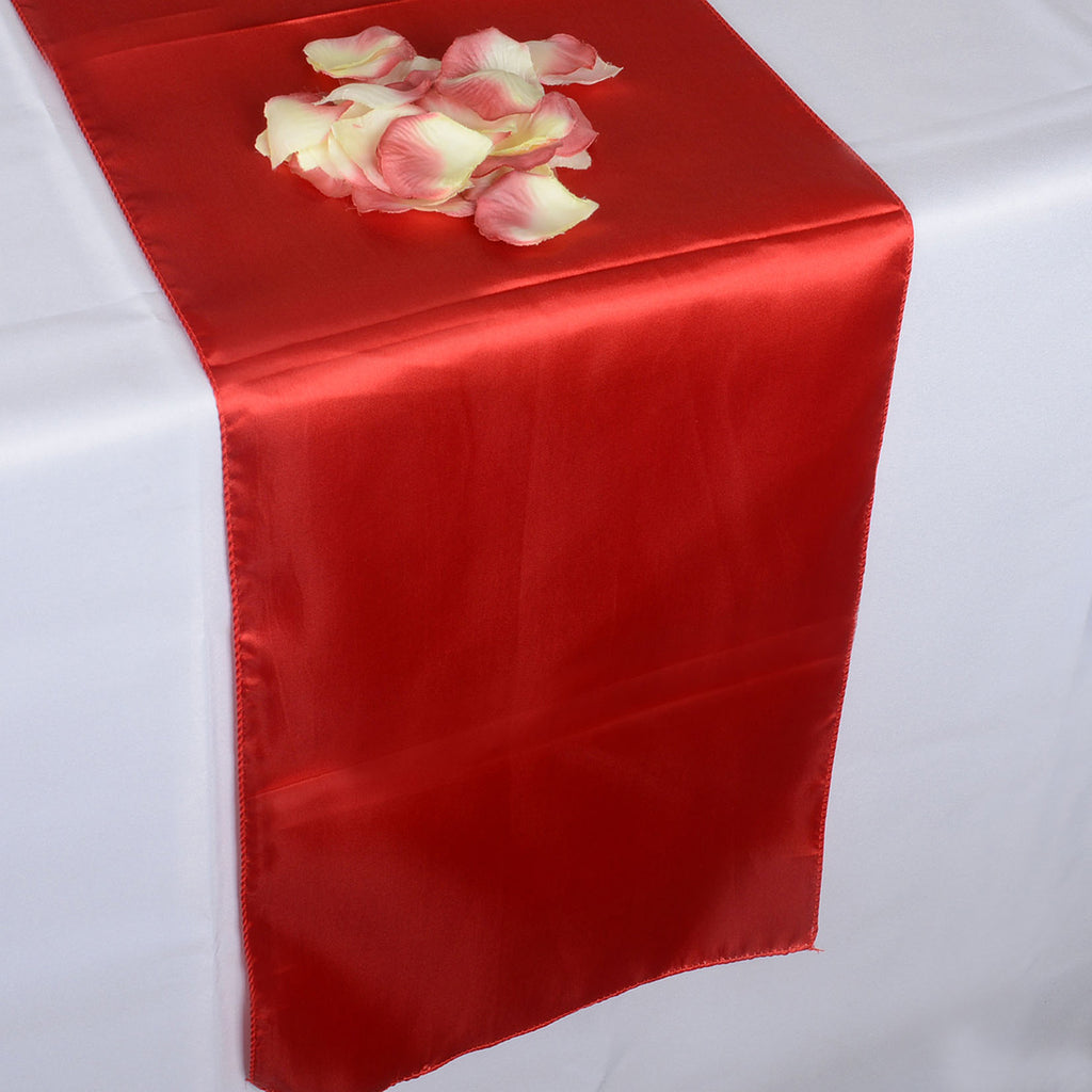 Red - Satin Table Runner - ( 12 inch x 108 inches )