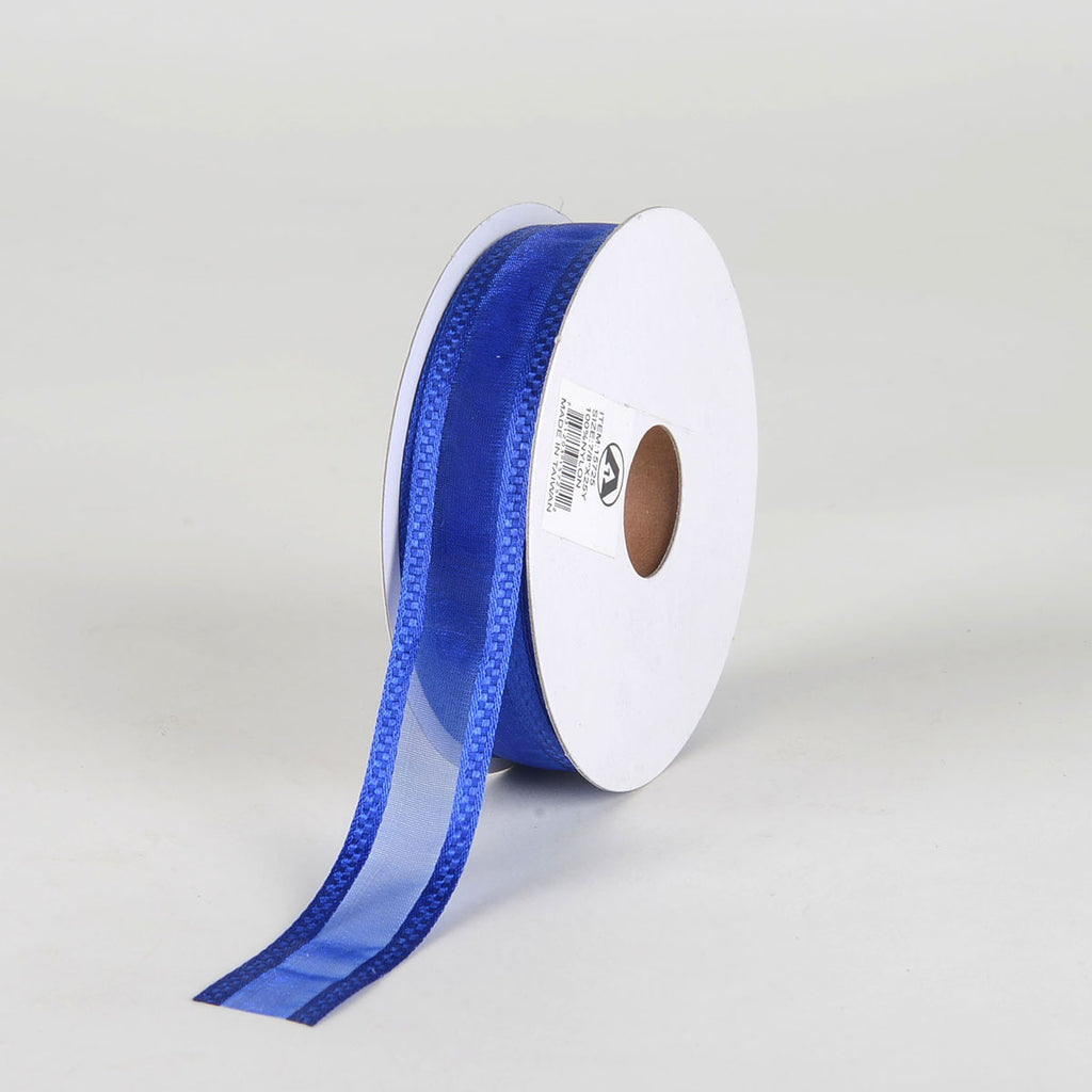 Royal Blue - Organza Check Edge Ribbon - (  7/8 Inch | 25 Yards  )