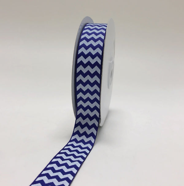 Royal Blue - Chevron Design Grosgrain Ribbon ( 7/8 inch | 25 Yards )