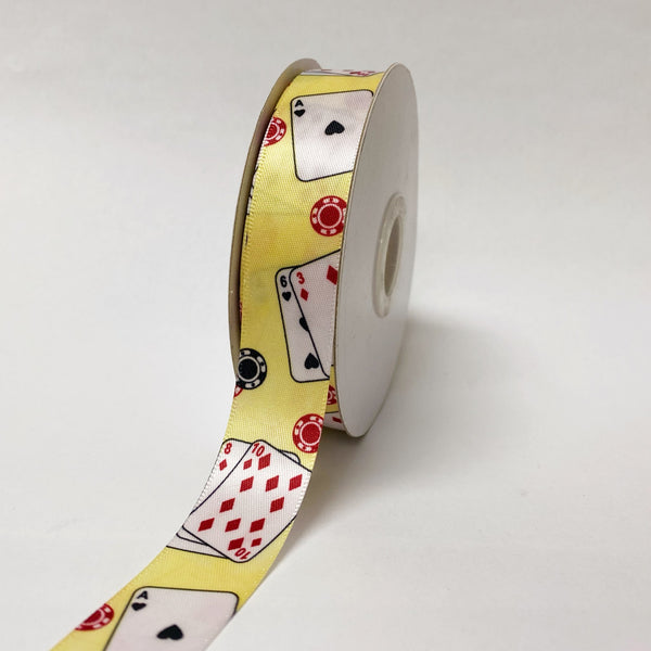 Satin Ribbon Poker Design - ( W: 7/8 Inch | L: 25 Yards ) - 90200501