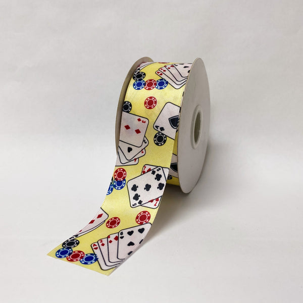 Satin Ribbon Poker Design - ( W: 1-1/2 Inch | L: 25 Yards ) - 90200901