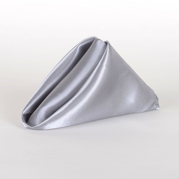 Silver- 20 x 20 Satin Napkins - Pack of 5