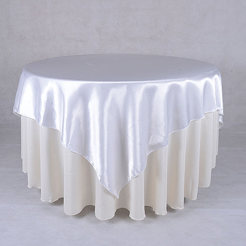 White - 90 x 90 Satin Table Overlays - ( 90 Inch x 90 Inch )