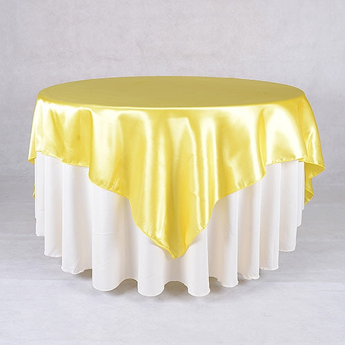 Yellow - 90 x 90 Satin Table Overlays - ( 90 Inch x 90 Inch )