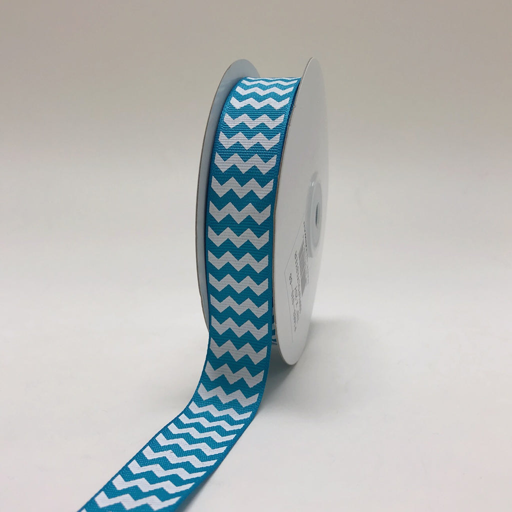 Turquoise - Chevron Design Grosgrain Ribbon ( 7/8 inch | 25 Yards )