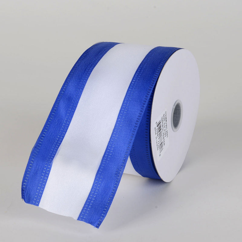 Satin Royal Blue & White Colleges Wired Ribbon ( 2-1/2 Inch x 10 Yards )