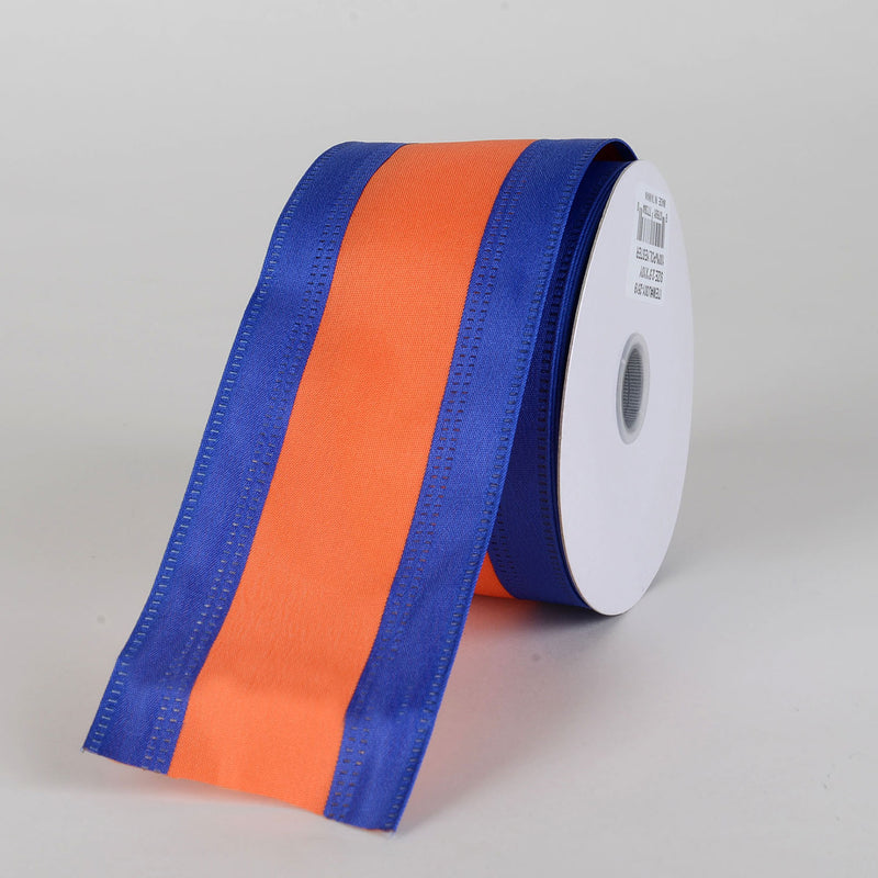 Satin Royal Blue & Orange Colleges Wired Ribbon ( 2-1/2 Inch x 10 Yards )