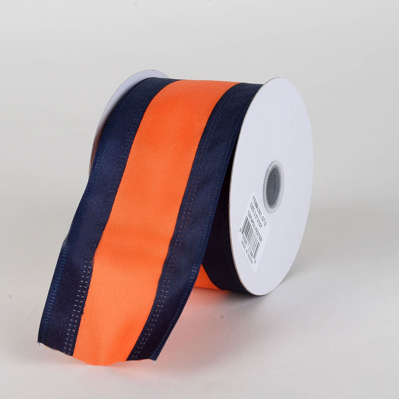 Satin Navy Blue & Orange Colleges Wired Ribbon ( 2-1/2 Inch x 10 Yards )