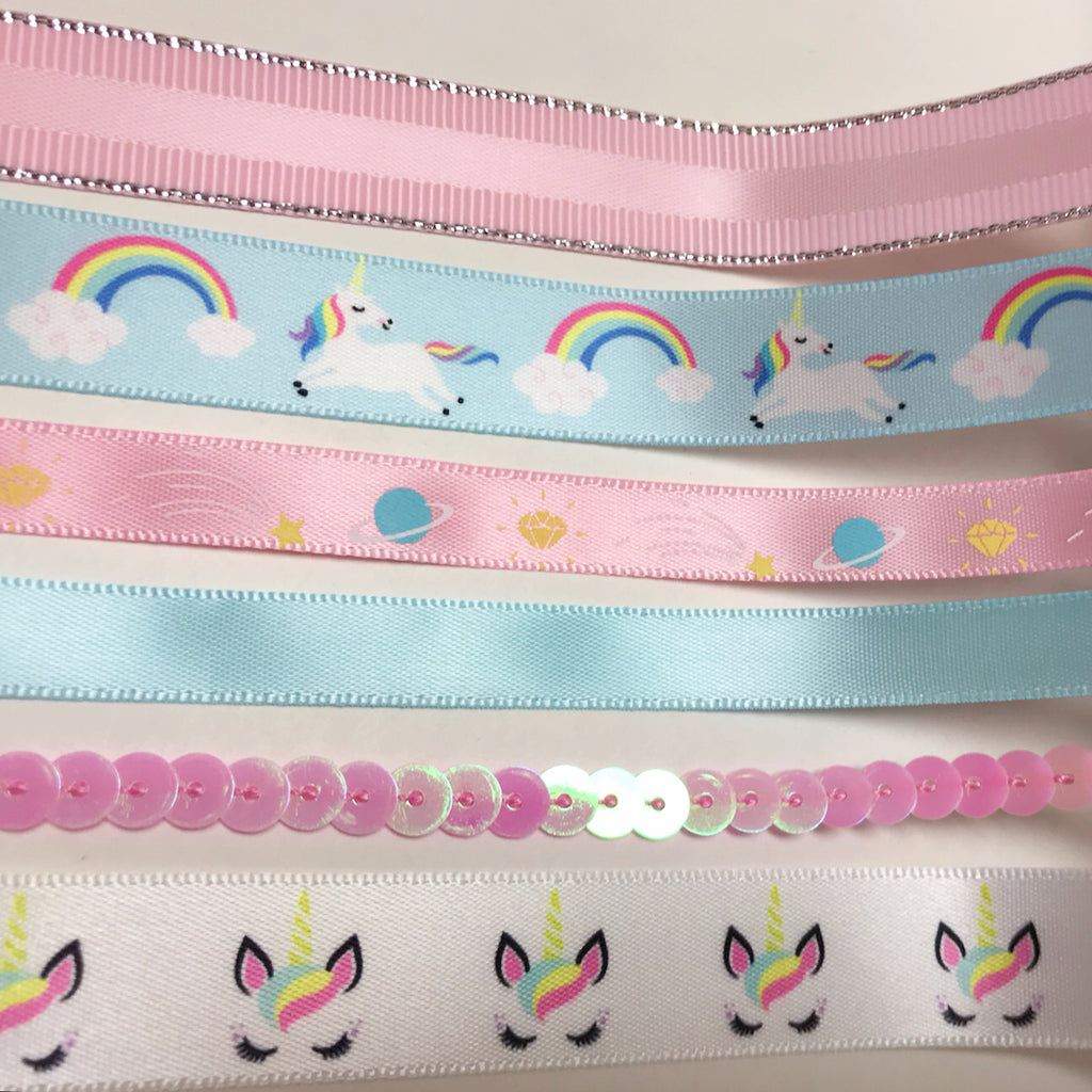 Unicorn Wired Edge Ribbon White, 2.5 Inch