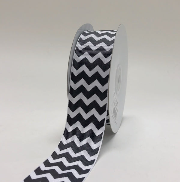 White Black - Chevron Design Grosgrain Ribbon ( 1-1/2 inch | 25 Yards )