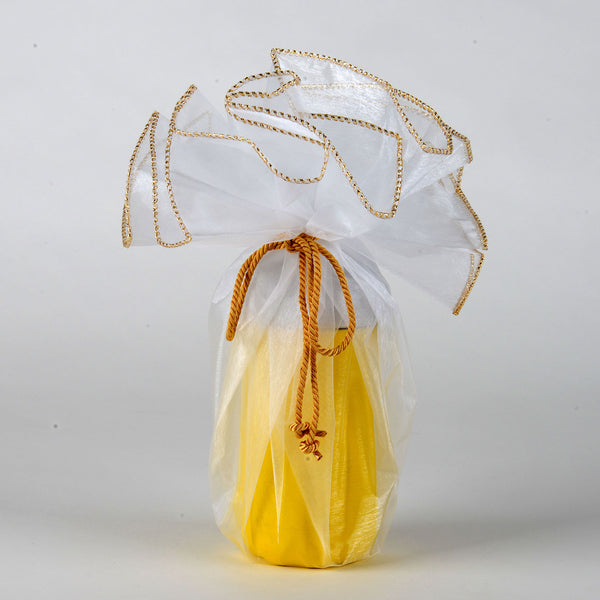Organza Wrapper with Cord - White with Gold