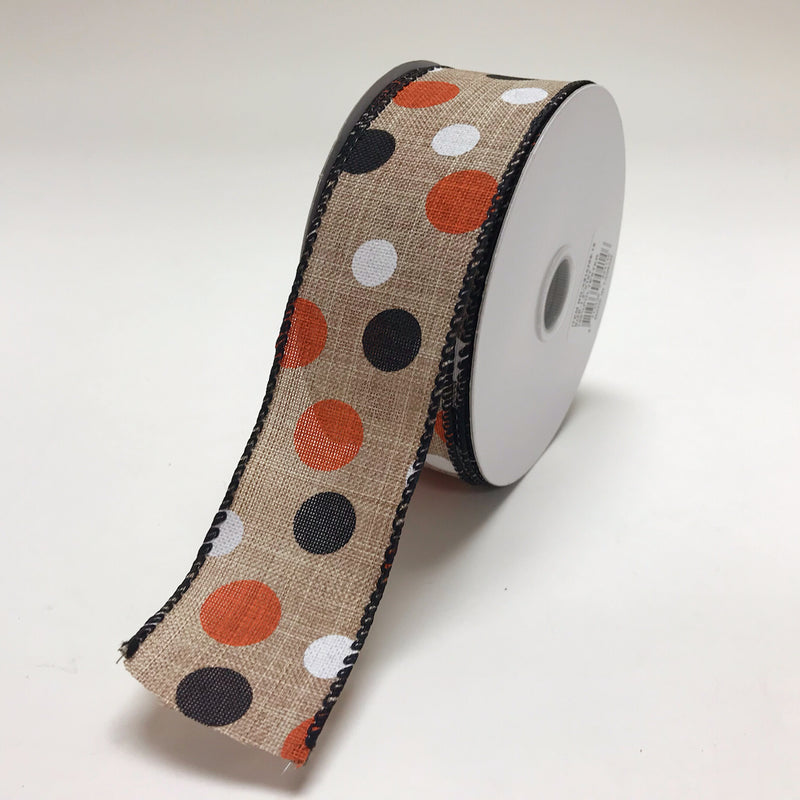 Spring Black White Orange Color Dots Ribbon ( 1-1/2 Inch x 10 Yards ) - X81520919