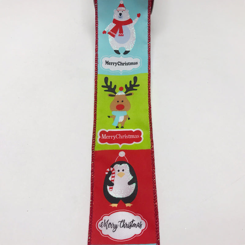 Bright Snowy Cute Animals Christmas Ribbon - (2.5 inch x 10 yards) - X92014013