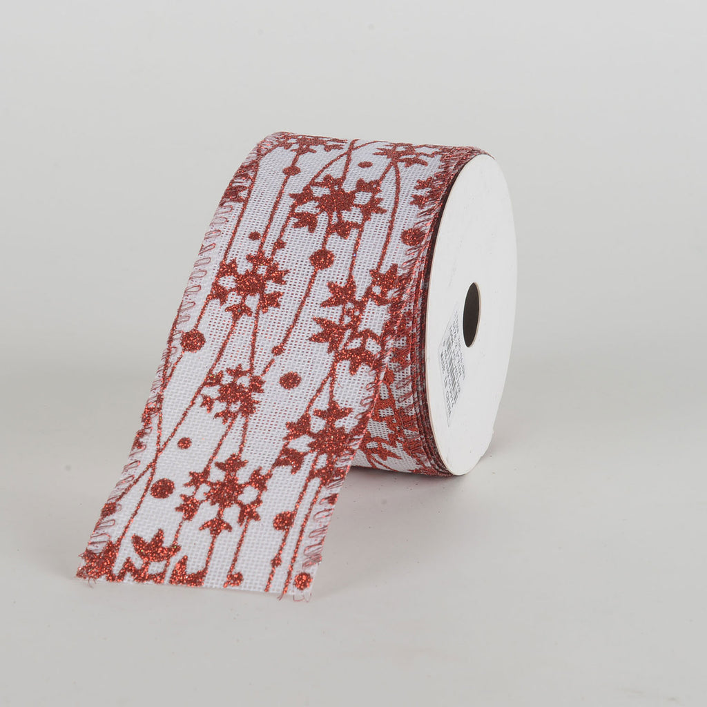 White with Red Glitter Snowflakes Wired Ribbon ( 2-1/2 Inch x 10 Yards )