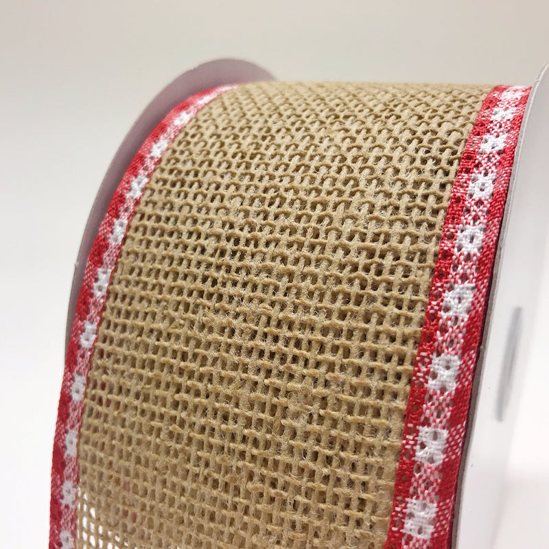 Natural Burlap Red White Gingham Edge Christmas Ribbon - (2.5 inch x 10 yards) - X97554013