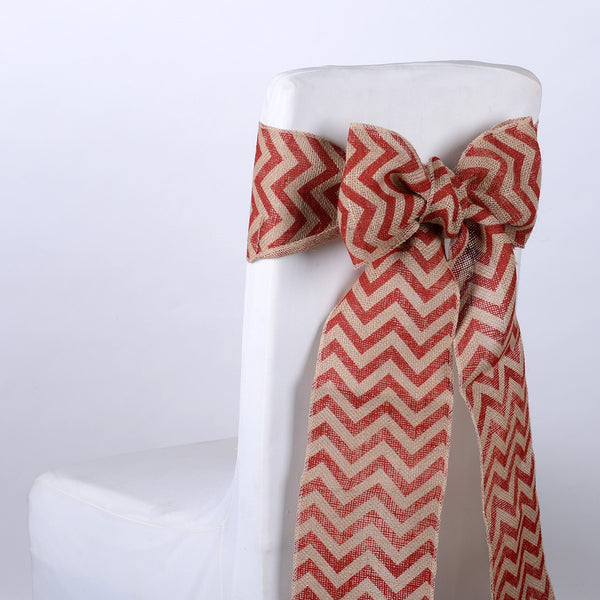 Red Chevron - Burlap Chair Sash ( 5 pieces )