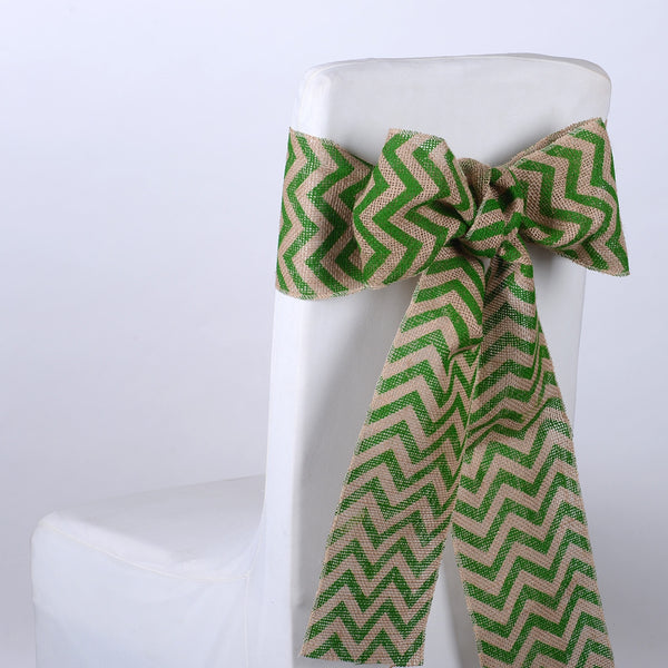 Green Chevron - Burlap Chair Sash ( 5 pieces )