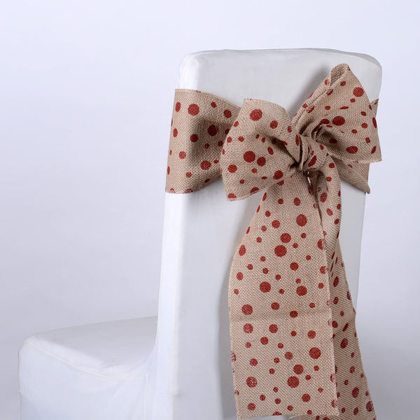 Red Dots - Burlap Chair Sash ( 5 pieces )
