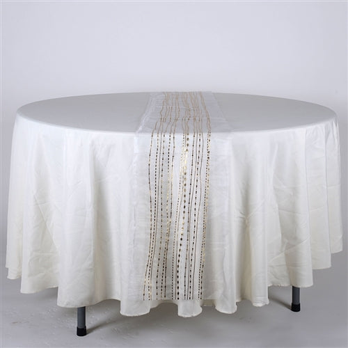 WHITE with GOLD Metallic ORGANZA Table Runner - XB34240