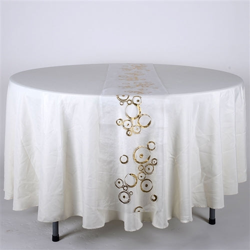 WHITE with GOLD Metallic ORGANZA Table Runner - XB34340