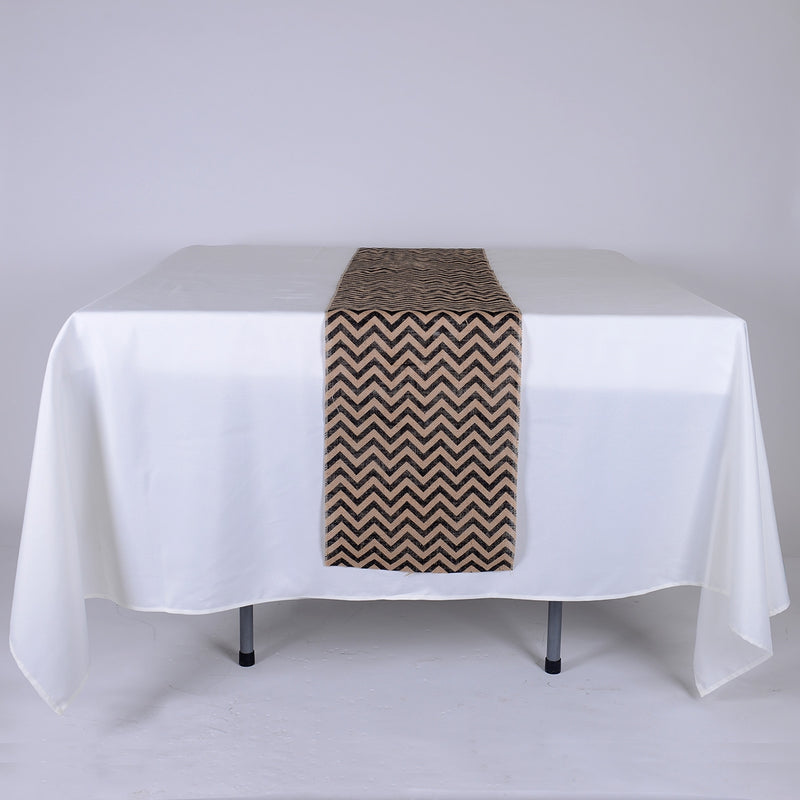 Black Chevron - Burlap Table Runner ( 14 inch x 108 inches )