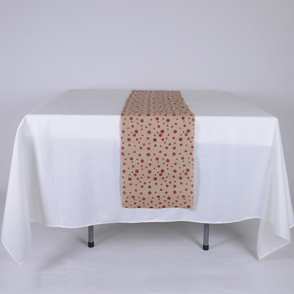Red Dots - Burlap Table Runner ( 14 inch x 108 inches )