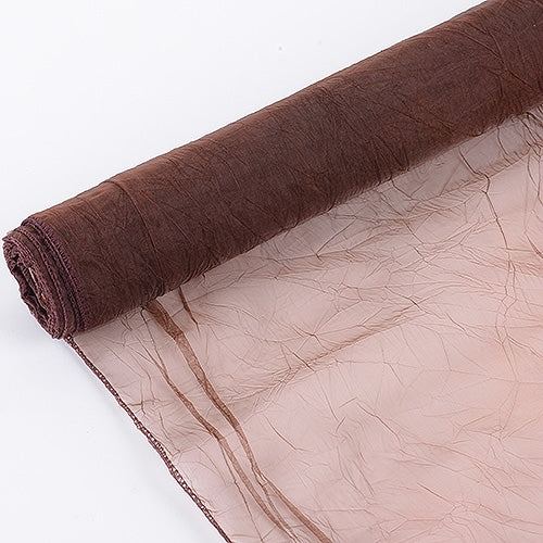 Chocolate - Premium Crinkle Organza Overlays - ( W: 24 inch | L: 10 Yards )