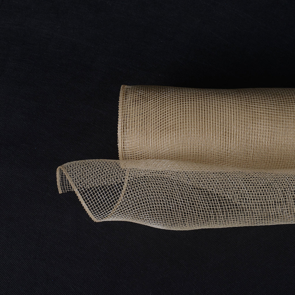Tan  - Floral Mesh Wrap Solid Color -  ( 10 Inch x 10 Yards )