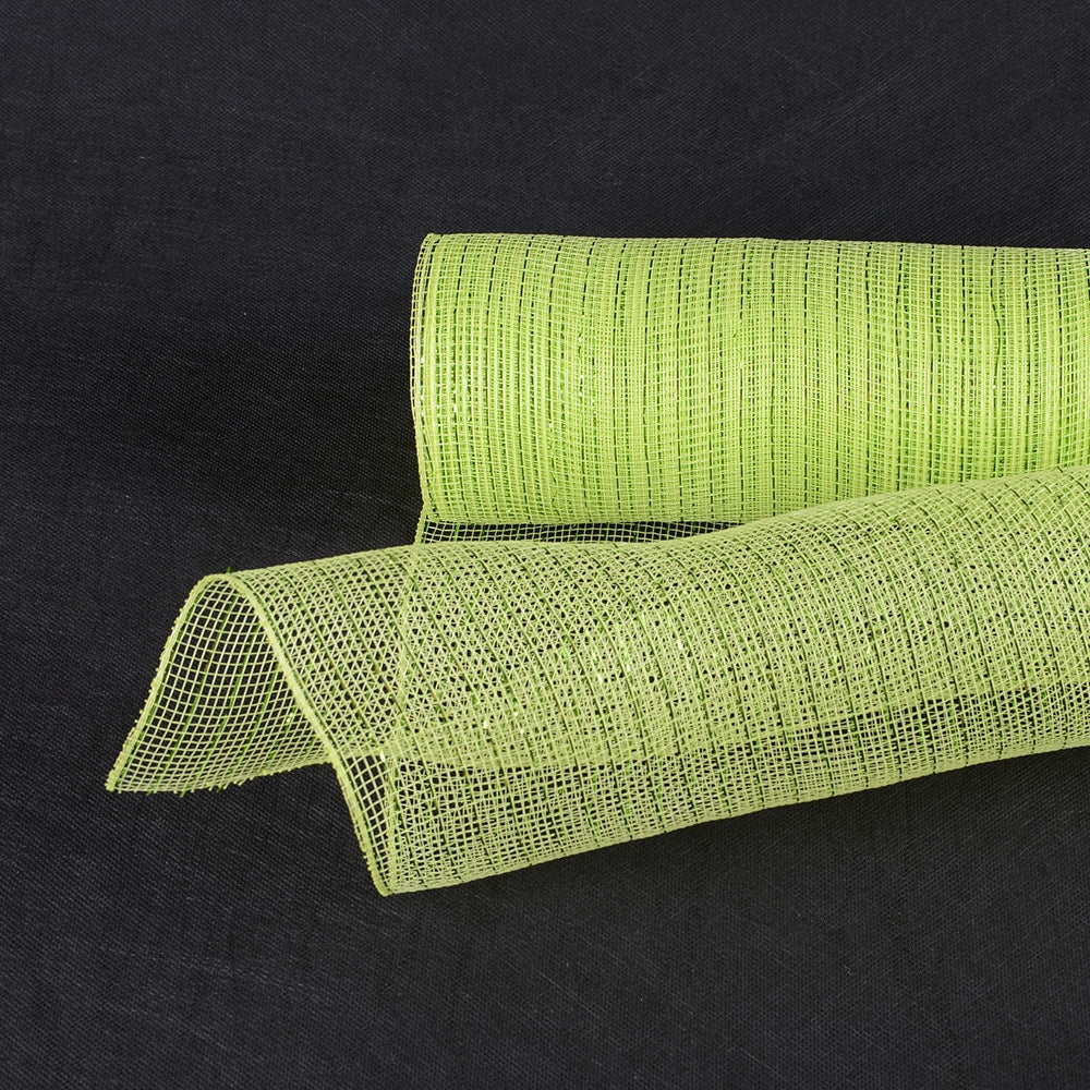 Apple Green - Deco Mesh Wrap Metallic Stripes -  ( 10 Inch x 10 Yards )