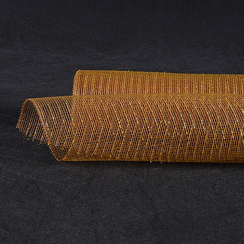 Old Gold - Deco Mesh Wrap Metallic Stripes -  ( 10 Inch x 10 Yards )