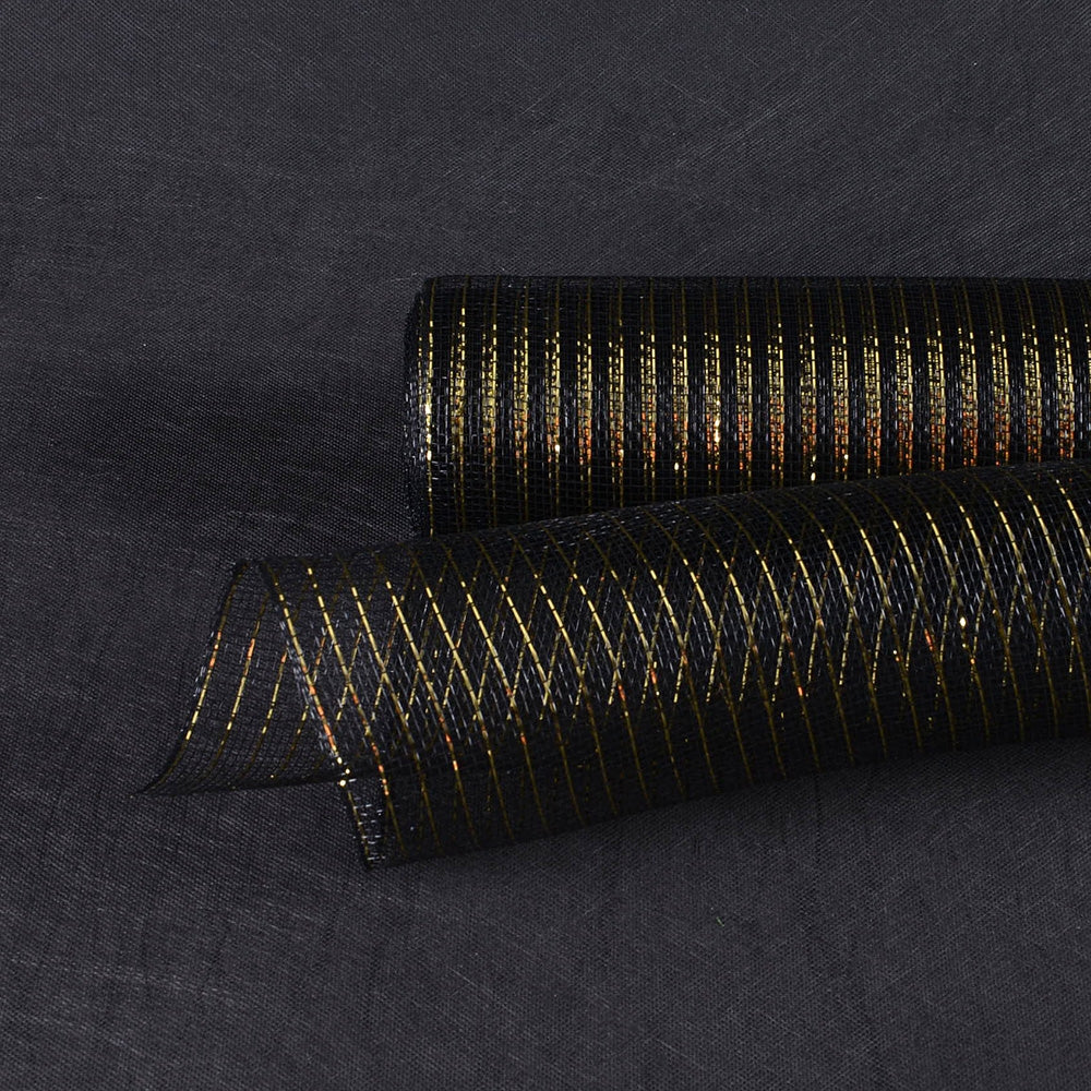 Black with Gold - Deco Mesh Wrap Metallic Stripes -  ( 10 Inch x 10 Yards )