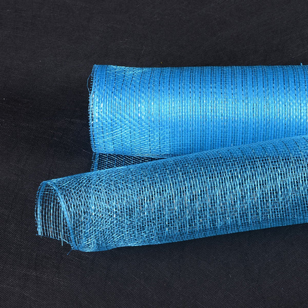 Turquoise - Deco Mesh Wrap Metallic Stripes -  ( 10 Inch x 10 Yards )
