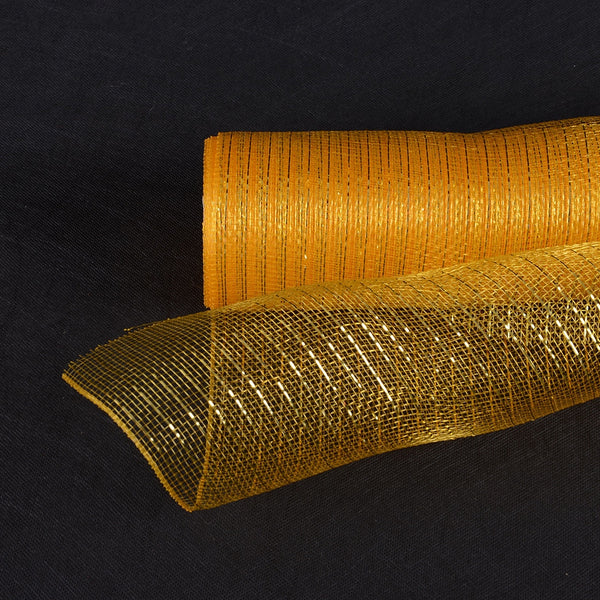 Light Gold - Deco Mesh Wrap Metallic Stripes -  ( 10 Inch x 10 Yards )