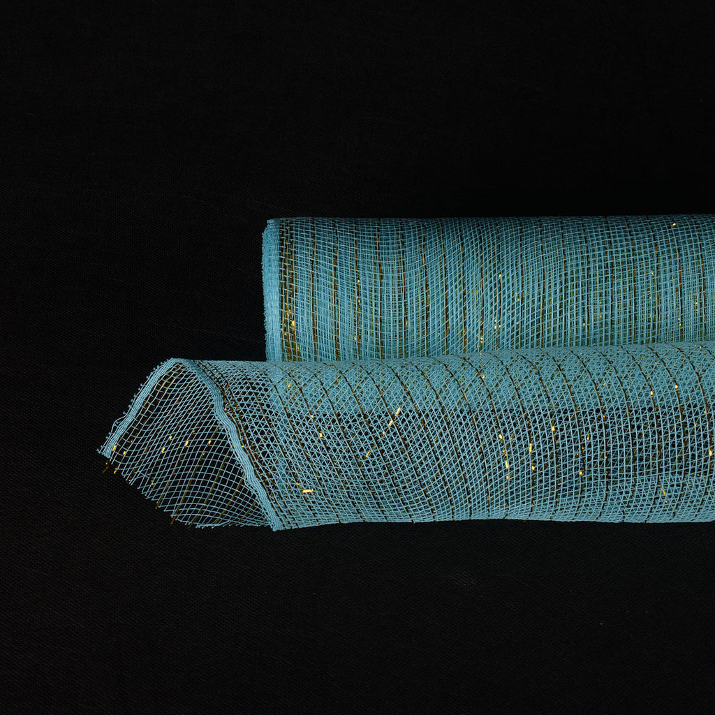 Light Blue with Gold - Deco Mesh Wrap Metallic Stripes -  ( 21 Inch x 10 Yards )