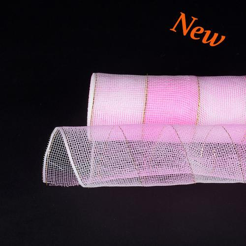 Pink White  - Christmas Mesh Wraps -  ( 10 Inch x 10 Yards )