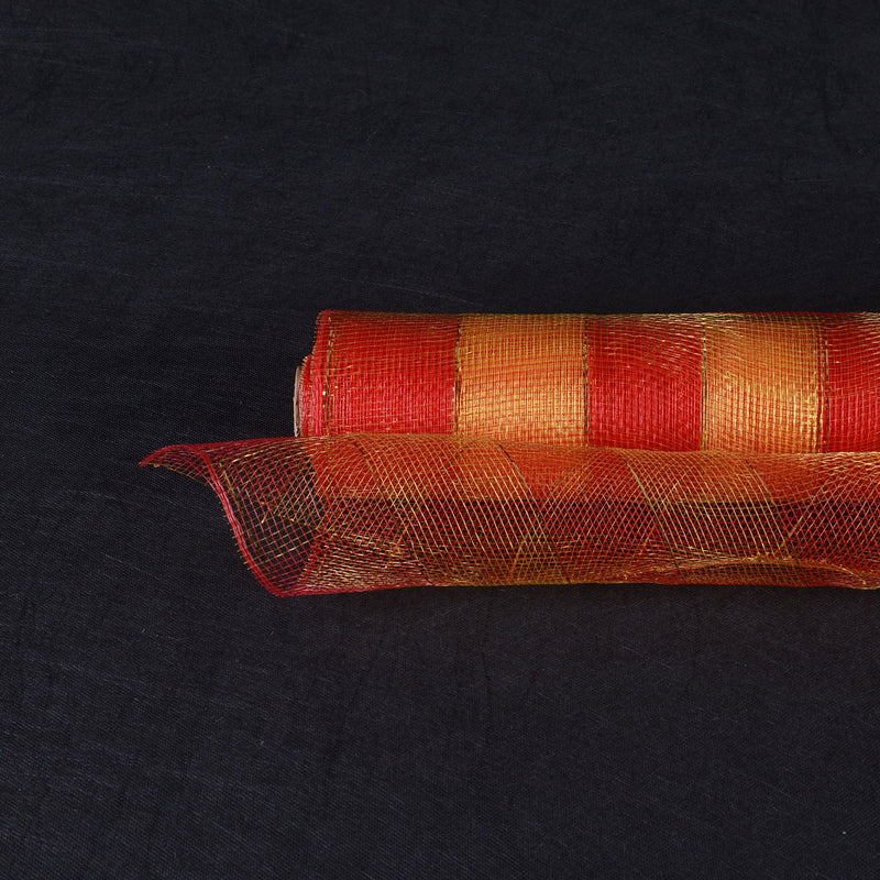 Red with Gold  - Christmas Mesh Wraps -  ( 21 Inch x 10 Yards )