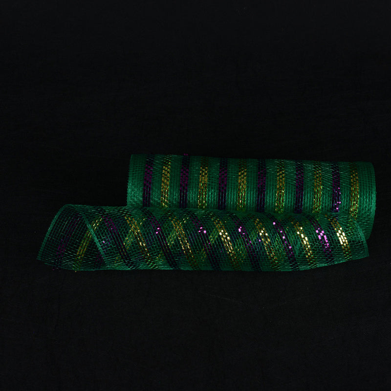 Emerald with Multi Color Lines - Poly Deco Mesh Wrap with Laser Mono Stripe -  ( 10 Inch x 10 Yards )