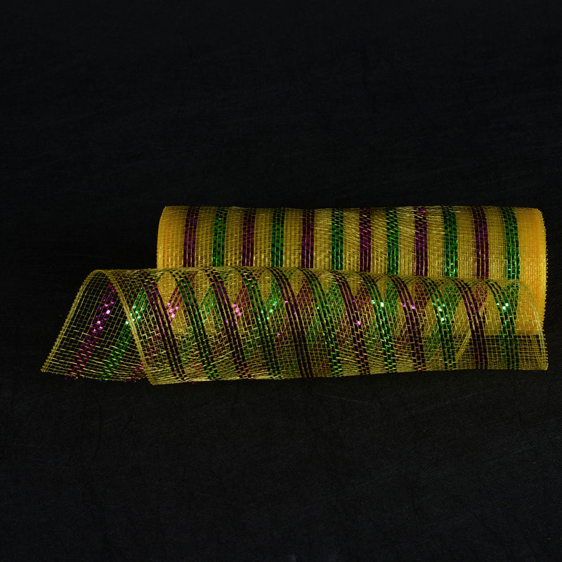 Yellow with Multi Color Lines - Poly Deco Mesh Wrap with Laser Mono Stripe -  ( 10 Inch x 10 Yards )
